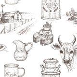 Dairy Farm Seamless Pattern. Royalty Free Stock Photo