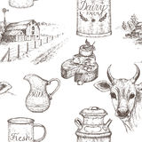 Dairy farm seamless pattern.
