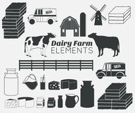 Dairy farm vector elements,milk icon set Stock Photo