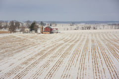 Dairy farm in winter. View of wisconsin dairy farm in winter Stock Photos