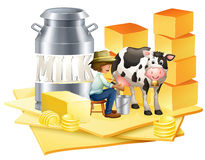 Dairy farmer with cheese Royalty Free Stock Photo