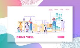 Dairy Farming Landing Page. Agricultural or Animal Husbandry Enterprise. Cow Produce Milk, Character Processing and Retail Sale. Website or Web Page. Flat royalty free illustration