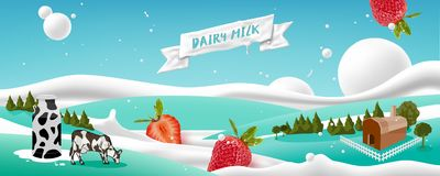 Free Dairy Farms And Pastures With Milk And Strawberry Flowing On Scenery Background Stock Image - 155472511