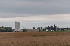 Dairy farms background. Agricultural background of dairy farms with a field ready for harvest in the foreground in October in Wisconsin Stock Images