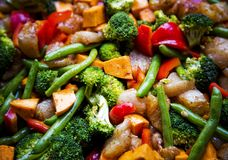 Anti-inflammatory pan with chicken and vegetables. Dairy free, gluten free, anti-inflammatory pan with chicken and vegetables, healthy light lunch Stock Photography