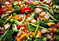 Anti-inflammatory pan with chicken and vegetables Stock Image