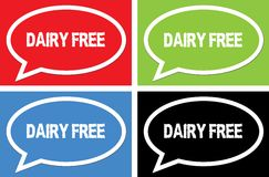 DAIRY FREE text, on ellipse speech bubble sign. Stock Photography
