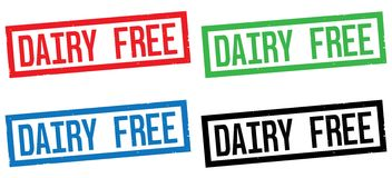 DAIRY FREE text, on rectangle border stamp sign. Royalty Free Stock Image