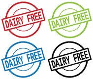 DAIRY FREE text, on round simple stamp sign. Stock Photo