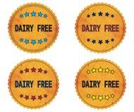 DAIRY FREE text, on round wavy border vintage, stamp badge. Royalty Free Stock Photos