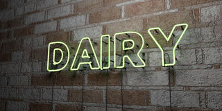 DAIRY - Glowing Neon Sign on stonework wall - 3D rendered royalty free stock illustration Royalty Free Stock Photo