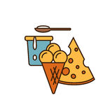 Dairy icon in line style design Royalty Free Stock Photo