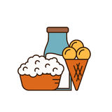 Dairy icon in line style design Stock Images