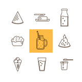 Dairy icon set in line style design. Milk, Cheese. Dairy Product Icon Set. Milk, Cheese, Ice Cream, Butter and other Dairy Product. Different Milk Product in Royalty Free Stock Photo