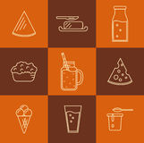 Dairy icon set in line style design. Stock Images