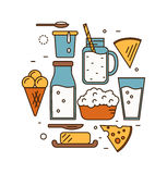 Dairy icon set in line style design. Stock Photography