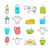 Dairy icons colored set Stock Photo