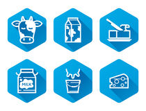 Dairy icons. Dairy products icons set, flat pictograms, blue Stock Photography