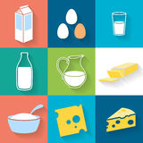 Dairy icons set - flat style. Stock Images