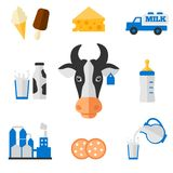 Dairy icons set - flat style. Dairy products - milk, cheese vector icons set royalty free illustration