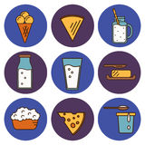 Dairy icons set in line style design Stock Photography