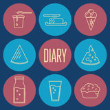 Dairy icons set in line style design Royalty Free Stock Image