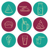 Dairy icons set in line style design Royalty Free Stock Images