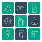 Dairy icons set in line style design Stock Image