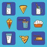 Dairy icons set in line style design Royalty Free Stock Photo