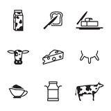 Dairy icons set. Dairy products - milk, cheese icons set on white background Royalty Free Stock Images