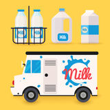 Dairy milk delivery service and milk bottles, packing. Local del vector illustration