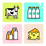 Dairy milk icon set Royalty Free Stock Photo