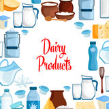 Dairy milk products vector poster Stock Photo