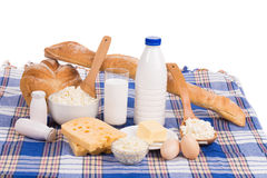 Dairy produce in assortment. Royalty Free Stock Photos