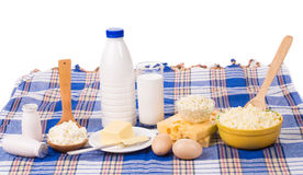 Dairy produce in assortment. Royalty Free Stock Image