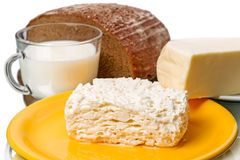 Dairy produce and bread Royalty Free Stock Photography