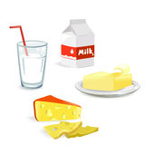 Dairy produce isolated. Illustration Stock Photos