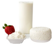Dairy produce with strawberry Stock Photography
