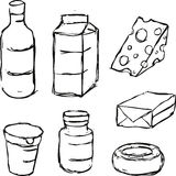 Dairy product - black outline sketch. Dairy product - yogurt, butter, margarine, milk, cheese, - black outline sketch Royalty Free Stock Image