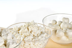 Dairy product bowls. Dairy product close-up over white background stock photography