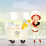 Dairy product cart. Illustration of dairy product cart Royalty Free Stock Image