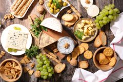 Dairy product. And appetizer on wood stock photography