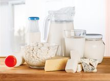 Dairy product. Cheese yogurt food healthy eating group of objects glass royalty free stock image