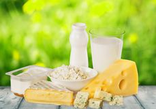 Dairy product. Milk cheese eggs merchandise milk bottle food royalty free stock photo
