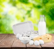 Dairy product. Milk cheese eggs merchandise milk bottle food royalty free stock images