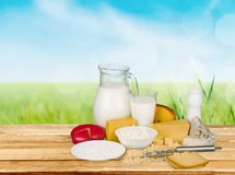 Dairy product. Milk cheese yogurt group of objects food groceries royalty free stock images