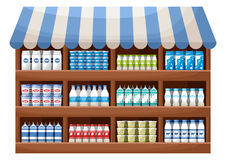 Dairy product farmer shop. Counter with products. Vector Stock Photo