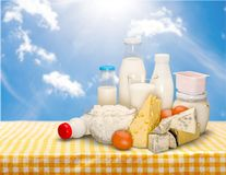 Dairy product. Milk cheese yogurt milk bottle food drink stock photo