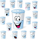 Dairy product in plastic cup. Funny cartoon with many facial expressions isolated on white background Stock Photos