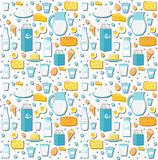 Dairy product seamless pattern. Flat style. Milk products background.  and Cheese texture. Farm Foods endless backdrop Royalty Free Stock Images